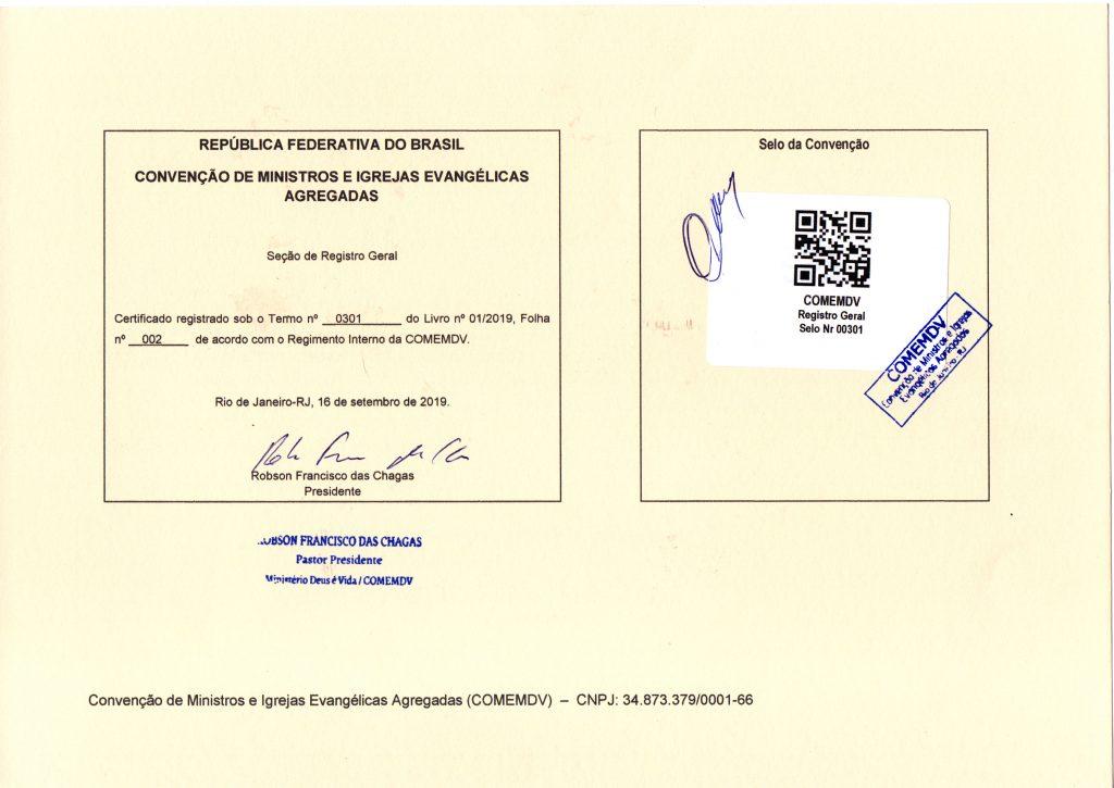 Certificado de filiação a COMEMDV 2019